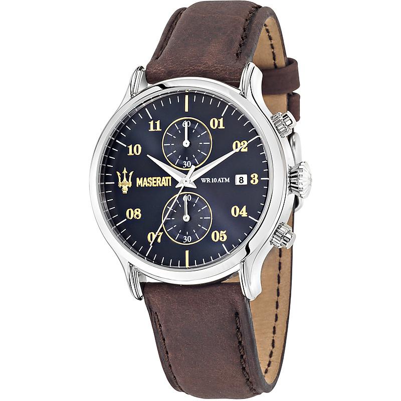 economico per lo sconto 45f69 04158 Orologio Maserati Epoca uomo cronografo con cinturino in pelle marrone e  quadrante nero
