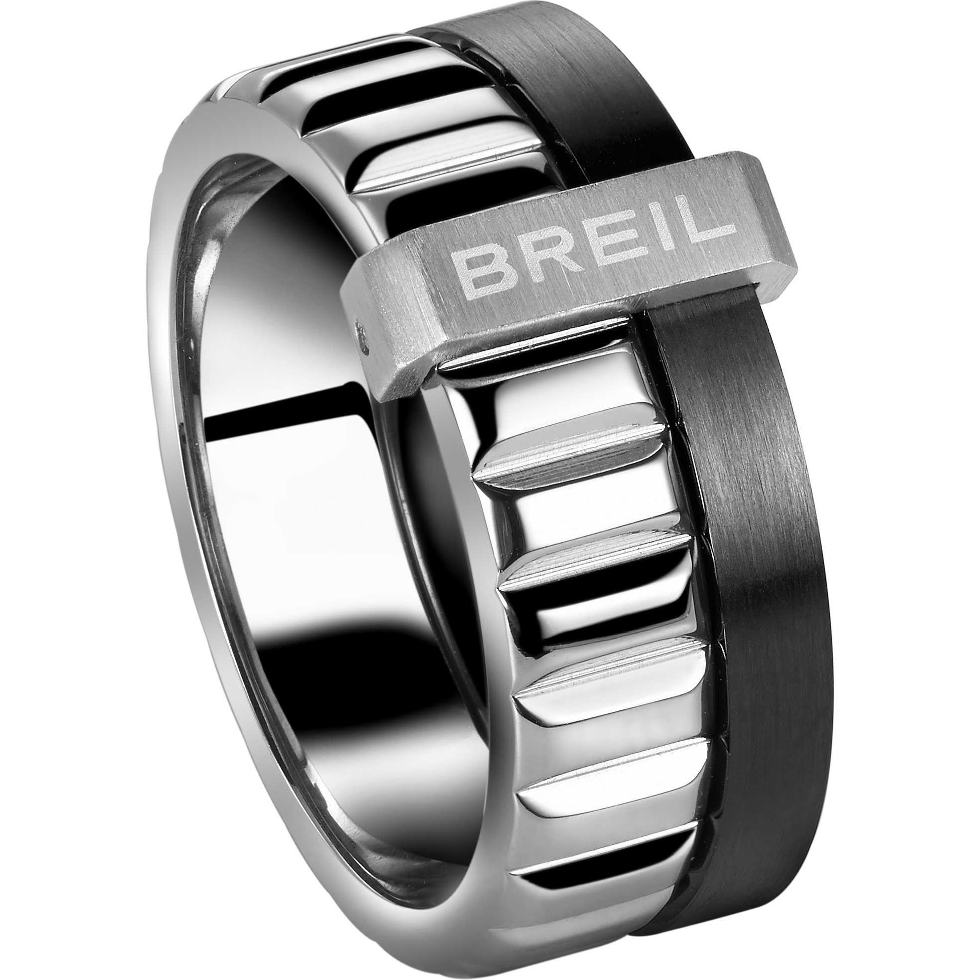 Famoso Anello Breil uomo in acciaio lucido silver e nero - in offerta da  HF39