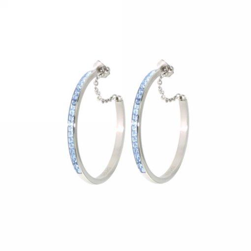 Orecchini Brosway donna cerchio con cristalli di swarovski azzurri - Gioielli Torino