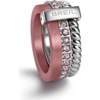 TJ1721 Anello Breil da donna Breilogy torsion rosa con cristalli di Swarovski - Anelli Valsusa - Gioielleria Cuatto