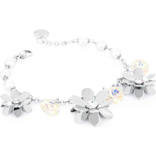 Bracciale Brosway donna Jardin con fiori, cristalli e perle - Bracciali Valsusa