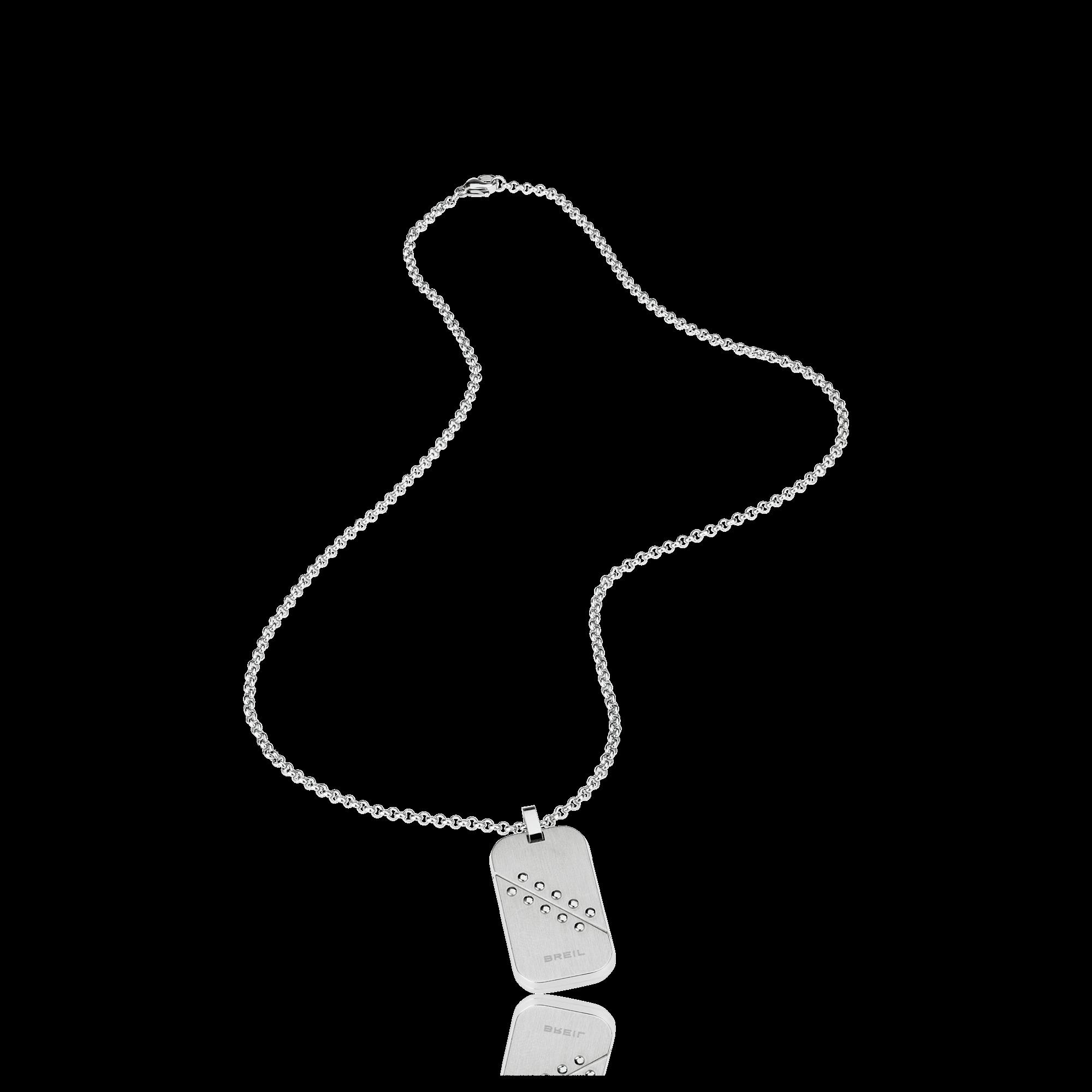 sfoglia le ultime collezioni completo nelle specifiche vendita online Collana Breil uomo con piastrina in acciaio bilux TJ1823