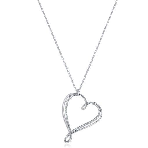 Collana Brosway con pendente cuore con pavè di zirconi bianchi - Collane Torino