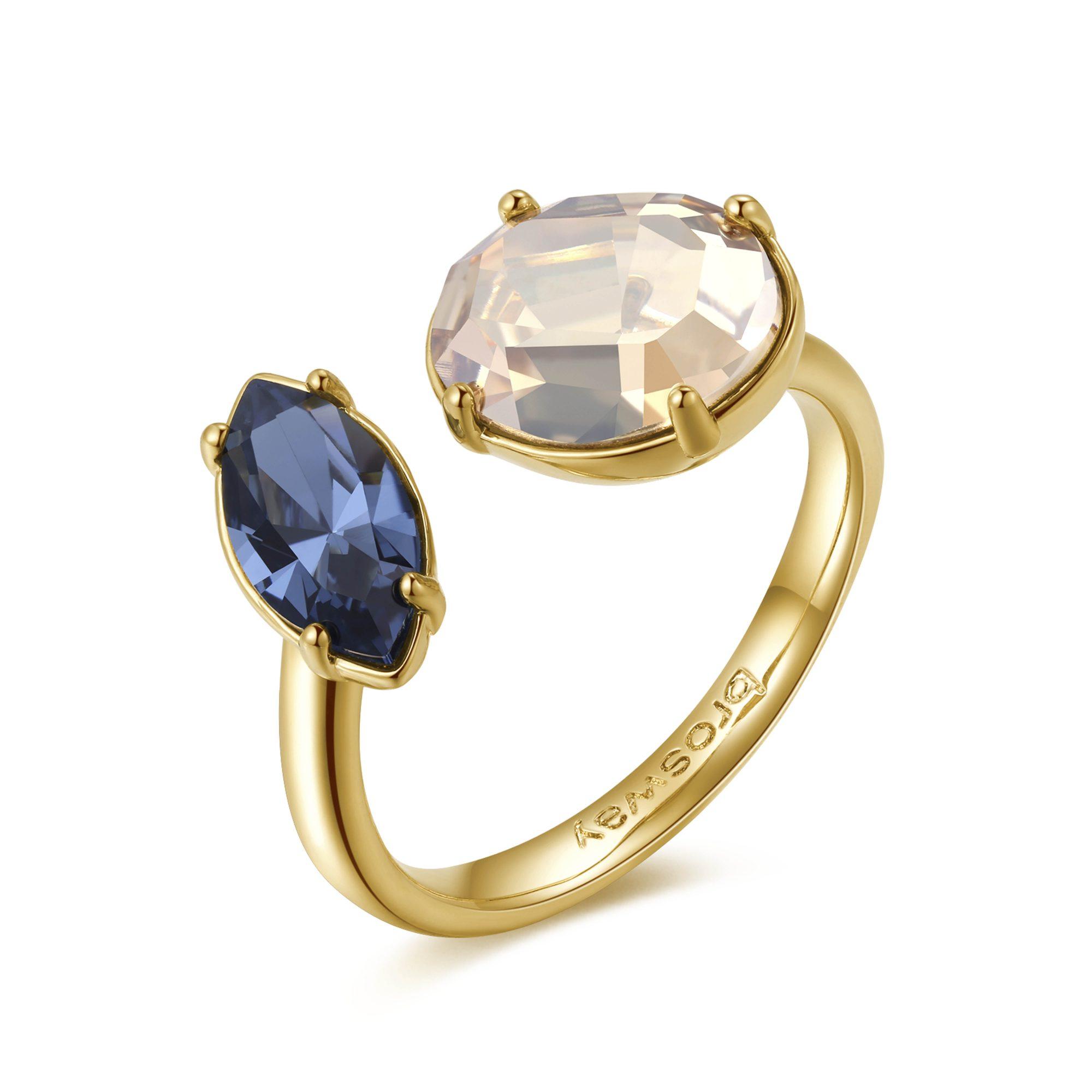 Super Anello Brosway donna ottone color oro e 2 cristalli di Swarovski  SW92