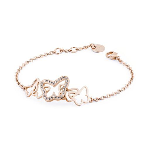 Bracciale donna Brosway in acciaio con farfalle n pvd oro rosa - Bracciali Torino