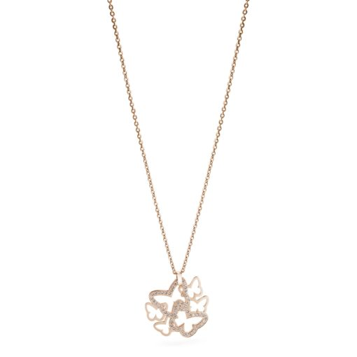 Collana corta Brosway donna in acciaio pvd oro rosa con pendente farfalle con cristalli bianchi - Collane Torino