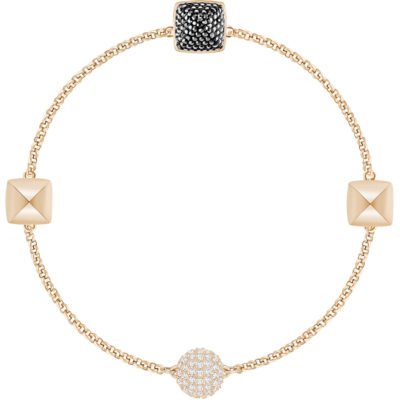 Bracciale donna Swarovski Remix colore oro rosa con pietre bianche e nere , offerte Torino