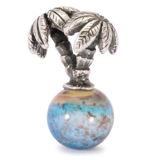 Trollbeads beads in vetro di murano e argento con palme, Isola delle palme
