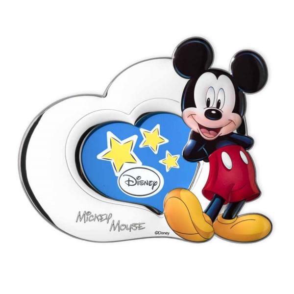 Portafoto Disney blu con Topolino a forma di cuore