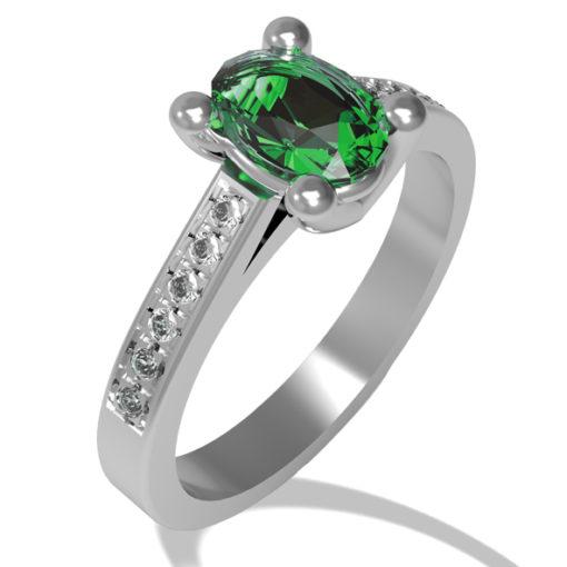 anello diamanti, anello con smeraldo, oro bussoleno