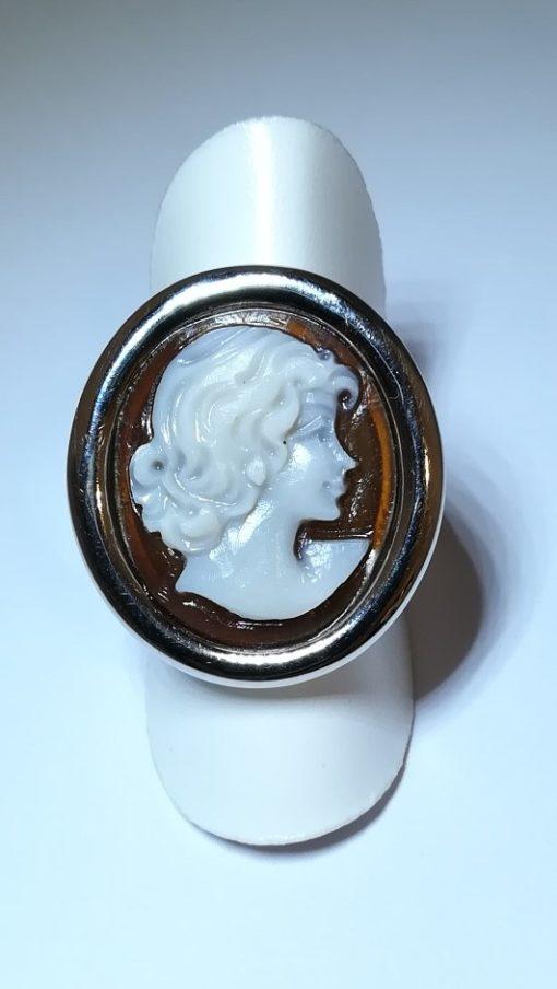 anello donna, anello cameo, anello in argneto, cameo italiano torino