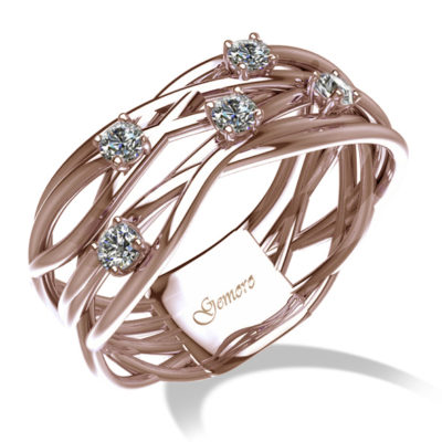 anello donna in oro rosa e diamanti intrecciato a filo offerta da cuatto, offerta provincia di torino anelli in oro rosa e diamanti, anello donna oro e diamanti intrecciato