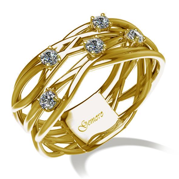 choisissez le dégagement Découvrez design intemporel Anello Gemoro in oro giallo Radici con diamanti