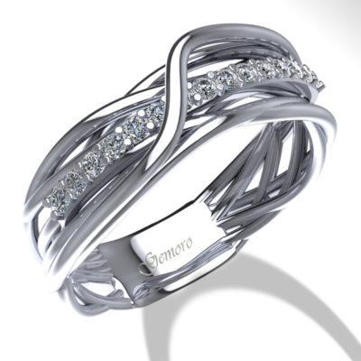 anello in oro e diamanti radici, anello donna in oro bianco e diamanti filo di diamanti, anello donna oro e diamanti intrecciato offerta da Cuatto