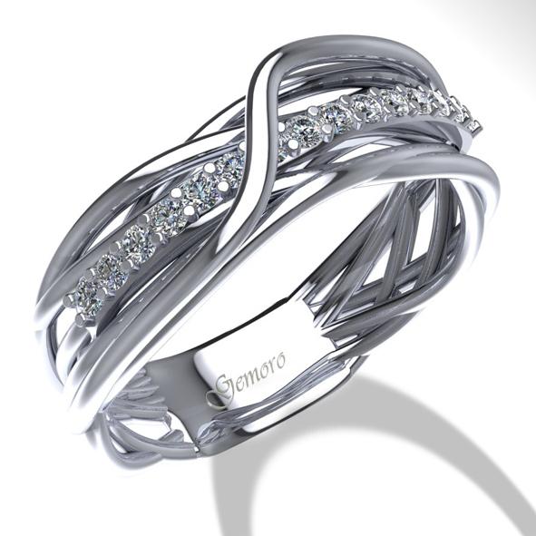 service durable ordre lacer dans Anello Gemoro in oro bianco Radici con diamanti AB1071BIA