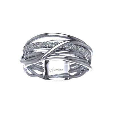 anello in oro e diamanti offerta Susa, anello radici gemoro in oroofferta anello donna in oro e diamanti inttecciato vari fili