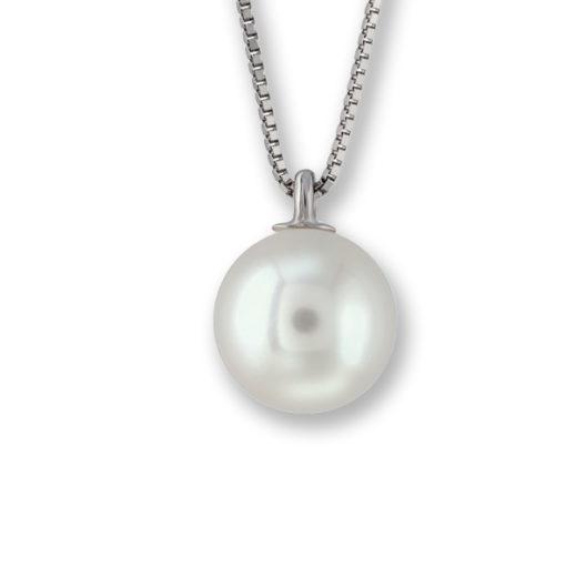 collana in oro bianco, collana perla