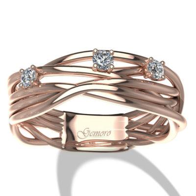 anello donna in oro rosa e diamanti intrecciato vari fili offerta provincia di torino,offerta anello in oro rosa e diamanti intrecciato a filo provincia di torino