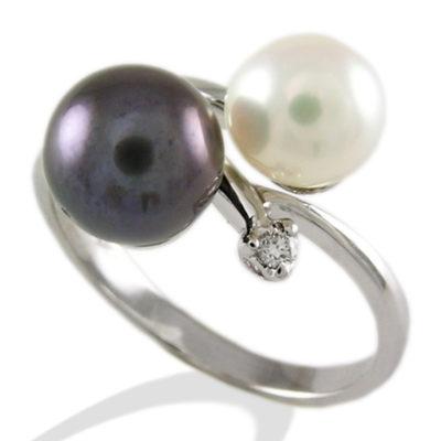 anello in oro bianco, anello con perla, anello con perla e diamante