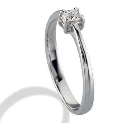 anello solitario, anello in oro bianco, diamante e oro bianco