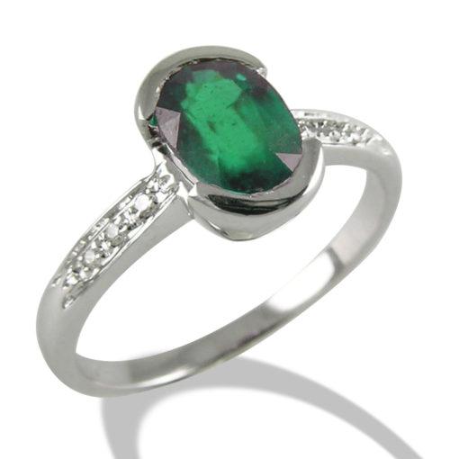 anello in oro bianco, diamanti e smeraldo, anello in oro e diamanti, diamanti susa