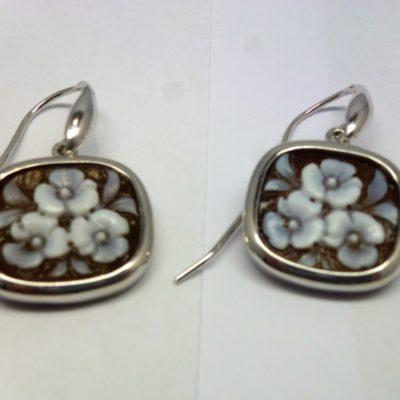 orecchini in argento, orecchini cameo, Cameo italiano fiori