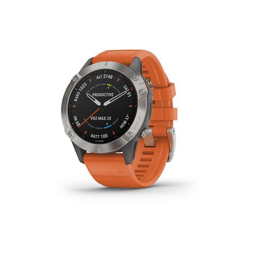 Garmin Fenix 6 Pro e Sapphire titanium con cinturino orange 010-02158-14