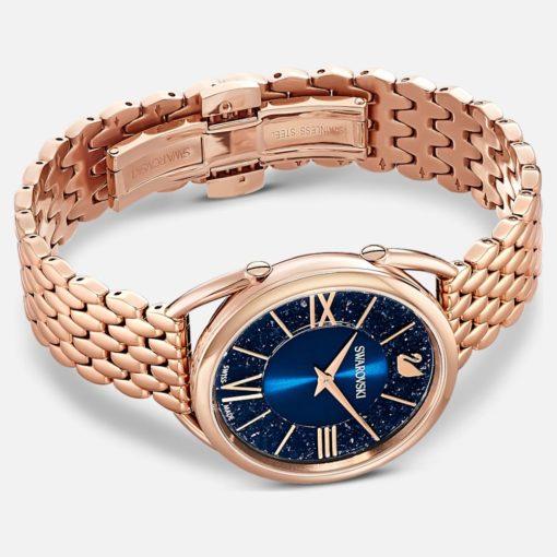 orologio swarovski donna crystalline glam azzurro acciaio pvd oro rosa