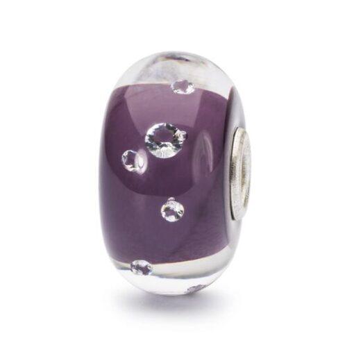 TGLBE-00159 Beads Trollbeads Beads Diamante Lilla in vetro con zirconi