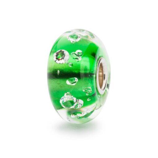 TGLBE-00075 Beads Trollbeads Beads Diamante Verde in vetro con zirconi