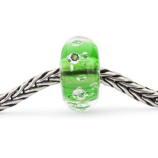 TrollBeads TGLBE-00075 Beads Diamante Verde in vetro con zirconi