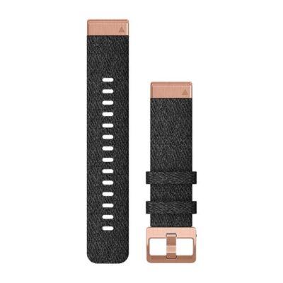 Cinturino Garmin QuickFit 20 mm in nylon nero e oro rosato Fenix 6s 010-12874-00