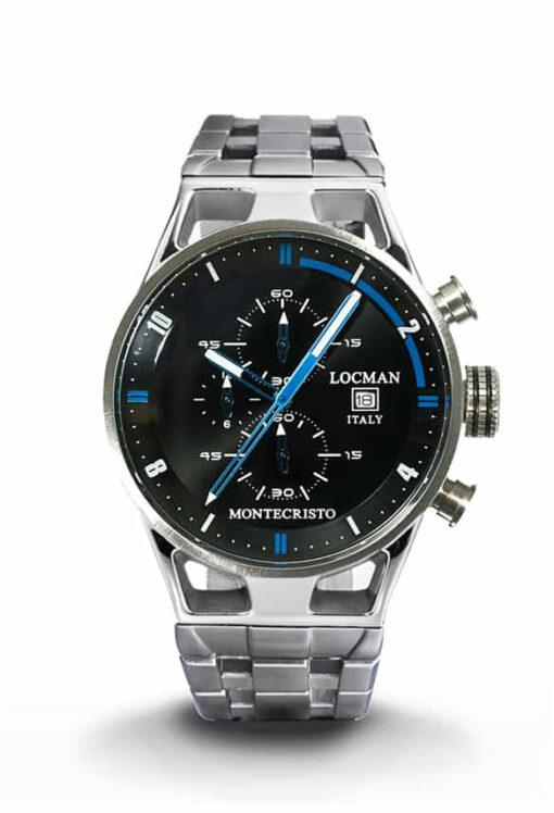 Orologio Locman Uomo Collezione Montecristo Crono in Acciaio-Titanio Nero con finiture blu 051000AGFBL0BR0