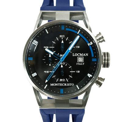 Orologio Locman Uomo Collezione Montecristo Crono in Acciaio-Titanio con cinturino in silicone blu 051000BKFBL0GOB