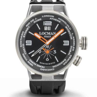 Orologio Locman Montecristo World Dual Time - Cassa acciaio e titanio, cinturino silicone nero