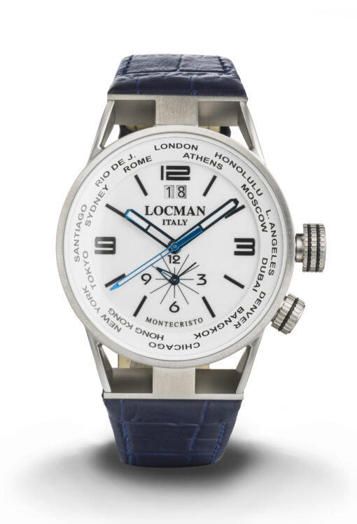 Orologio Locman Uomo Montecristo World Dual Time - Cassa acciaio e titanio bianco, cinturino pelle blu