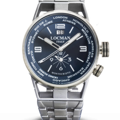 Locman Orologio Uomo Montecristo Dual Time in acciaio e Titanio - 0508A02S-00BLWHB0
