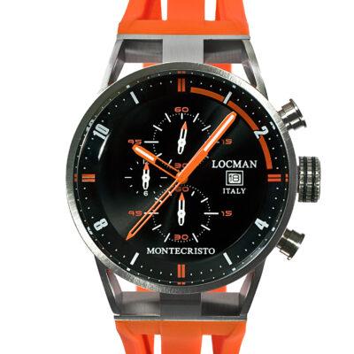 Orologio Locman Uomo Collezione Montecristo Crono in Acciaio-Titanio con cinturino in silicone arancio 051000BKFOR0GOO