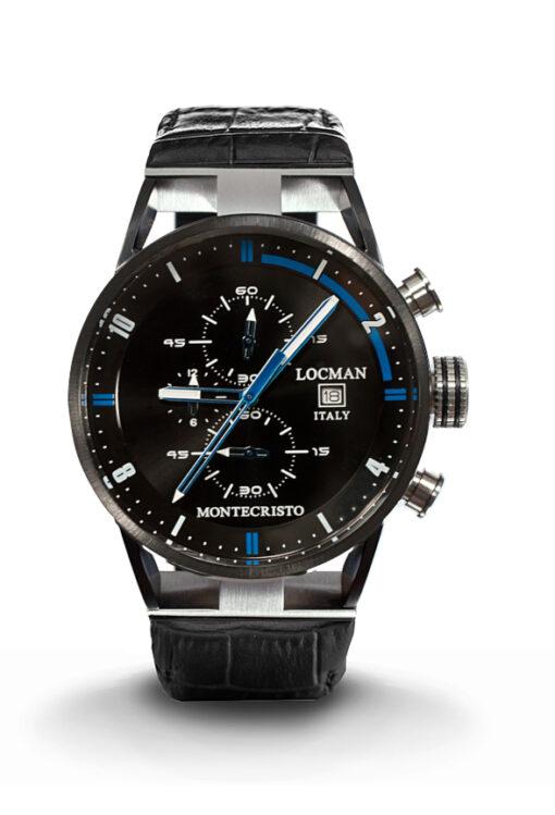 Orologio Locman Montecristo cronografo al quarzo in acciaio e titanio PVD con cinturino in pelle nera 0510KNBKFBL0PSK