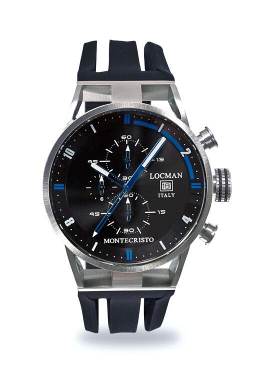 Orologio Locman Uomo Collezione Montecristo Crono in Acciaio-Titanio con cinturino in silicone nero 051000BKFBL0GOK