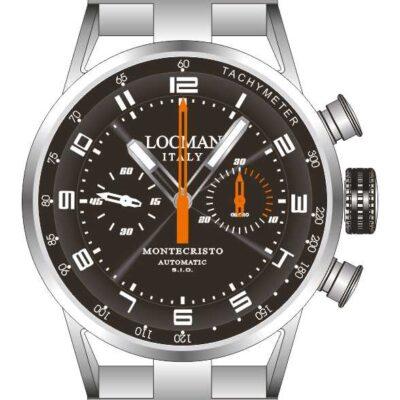 Orologio Locman uomo, cronografo automatico cassa acciaio e titanio e cinturino in pelle 0514V04-00BKOPSK