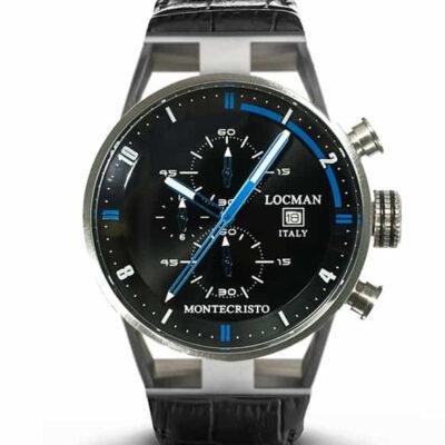 Orologio Locman Montecristo cronografo al quarzo in acciaio e titanio con cinturino in pelle nera 051000BKFBL0PSK