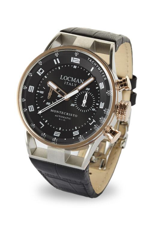 Orologio Locman montecristo cronografo automatico in acciaio e titanio PVD e cinturino in pelle nera 0514V13-RNBKWPSK