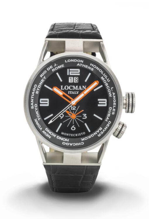 Orologio Locman Montecristo World Dual Time - Cassa acciaio e titanio, cinturino pelle nera