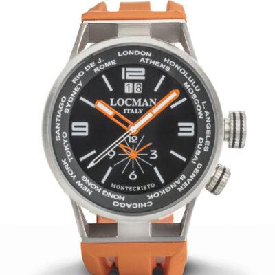 Orologio Locman uomo Montecristo World Dual Time - Cassa acciaio e titanio, cinturino silicone arancio - 0508A01S-00BKWHSO