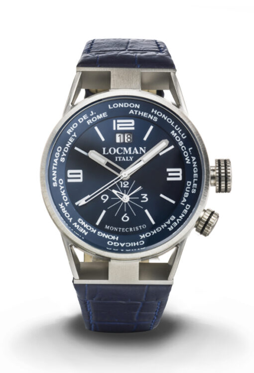 Orologio Locman Uomo Montecristo World Dual Time - Cassa acciaio e titanio, cinturino pelle blu