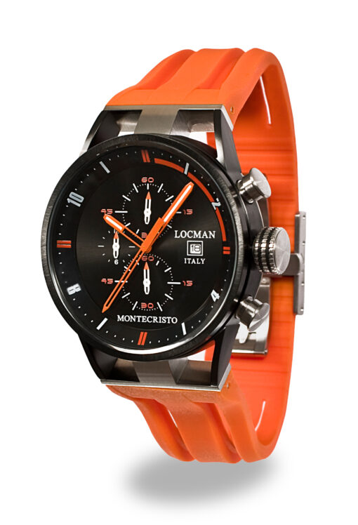 Locman cronografo Montecristo Acciaio e Titanio PVD con cinturino silicone arancio 0510KNBKFOR0GOO