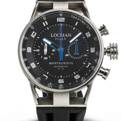 Locman Orologio Uomo Montecristo cronografo automatico cassa acciaio e titanio con cinturino in silicone 0514V03-00BKSSIK