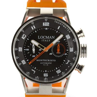 Locman Montecristo Cronografo Automatico cassa acciaio e titanio, cinturino in silicone arancio 0514V04-00BKOSIO