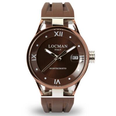 Locman orologio donna Montecristo Solo Tempo Ladyin acciaio e titanio con cinturino in silicone marrone 0520V07-BNBN00SN
